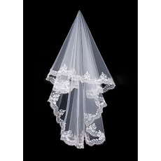 1 Layer Ballet with Lace Ivory Wedding Veils