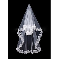 1 Layer Chapel with Lace Ivory Wedding Veils