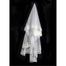 1 Layer Elbow with Applique Ivory Wedding Veils