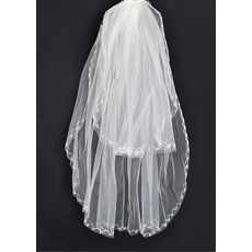 2 Layers Fingertip with Embroidery Ivory Wedding Veils