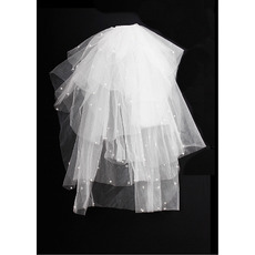 6 Layers Blusher with Pearls Ivory Wedding Veils