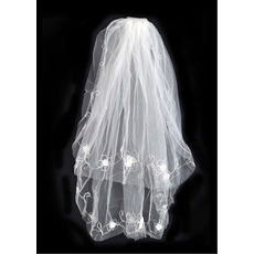 2 Layers Fingertip with Flowers Ivory Wedding Veils
