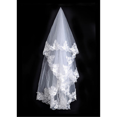 1 Layer Ballet with Applique White Wedding Veils