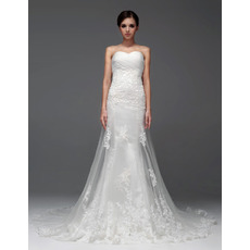 Elegant Mermaid/ Trumpet Sweetheart Chapel Train Organza Wedding Dresses