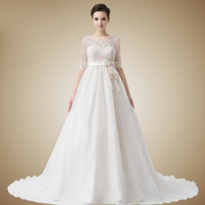 Elegant Empire Sweetheart Chapel Train Satin Organza Wedding Dresses