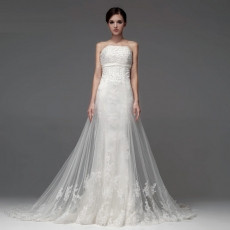 New Style Sexy Sheath Strapless Chapel Train Organza Wedding Dresses