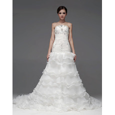 Inexpensive A-Line Organza Chapel Train Strapless Wedding Dresses