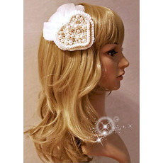 Elegant White Feather Beaded Wedding Hair Clips