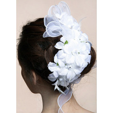 Gorgeous White Raw Silk Tulle Flowers/ Headpieces for Brides