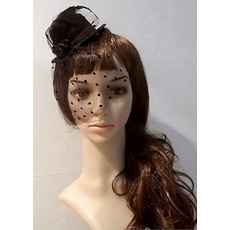 Fashion Tulle Black Fascinators/ Birdcage Veils/ Wedding Hats for Brides