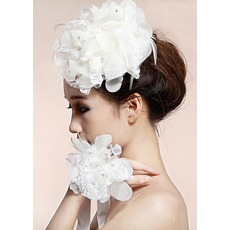 Stunning White Silk Tulle Fascinators/ Wrist Flowers for Brides