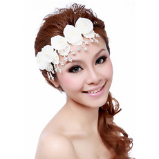 Gorgeous White Silk Fascinators with Pearls for Brides