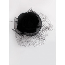 Stunning Black Netting Fascinators/ Flowers with Feather for Brides