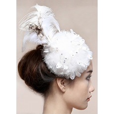 Stunning White Tulle Fascinators with Feather for Brides