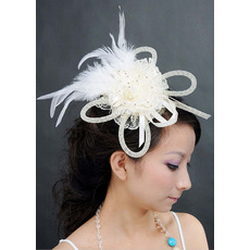 Stunning White Lace Fascinators with Feather for Brides