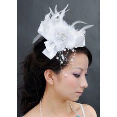 Chic White Satin Fascinators with Feather for Brides