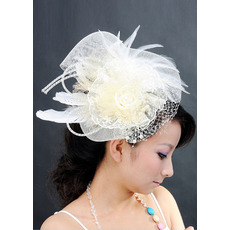 Chic White Netting Tulle Fascinators with Feather for Brides