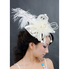 Chic White Organza Fascinators with Feather for Brides
