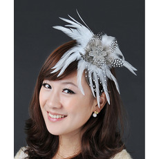 Stunning Tulle Organza Printed Tassel Fascinators for Brides