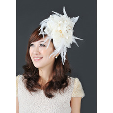Stunning White Satin Chiffon Tulle Fascinators with Feather for Brides