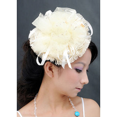 Chic White Lace Tulle Fascinators with Beads for Brides