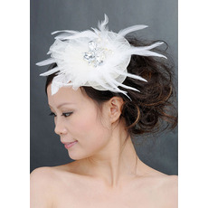 Chic White Tulle Fascinators with Feather and Beads for Brides