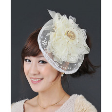 Elegant Ivory Tulle Lace Fascinators with Beads for Brides