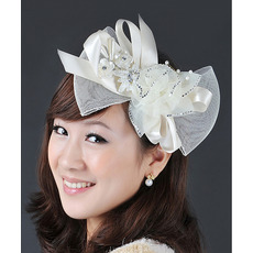 Elegant Ivory Satin Tulle Fascinators with Beads and Bows for Brides