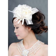 Elegant White Satin Fascinators with Beads and Bows for Brides