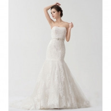 Affordable Strapless Court Train Mermaid/ Trumpet Wedding Dresses