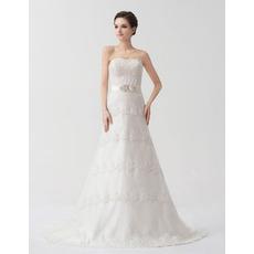 2016 Designer A-Line Strapless Court Train Wedding Dresses