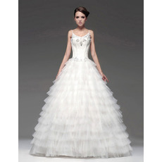 Designer A-Line Floor Length Tiered Wedding Dresses with Spaghetti Straps