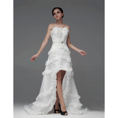 Discount A-Line Strapless High-Low Asymmetric Satin Wedding Dresses