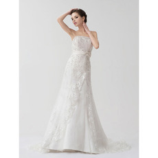 Affordable Elegant A-Line Strapless Court Train Wedding Dresses