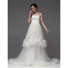 Custom A-Line Strapless Chapel Train Satin Organza Wedding Dresses