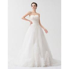 Designer A-Line Sweetheart Court Train Organza Wedding Dresses