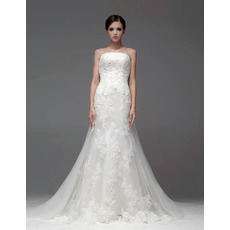 2015 Fall Mermaid/ Trumpet Strapless Chapel Train Organza Wedding Dresses