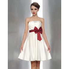 Inexpensive Princess Strapless Mini Bridesmaid Dresses with Sash