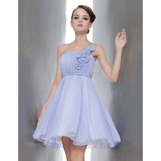 Custom Princess One Shoulder Mini Chiffon Bridesmaid Dresses