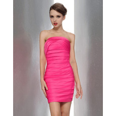2015 Summer Sheath/ Column Strapless Mini Bridesmaid Dresses