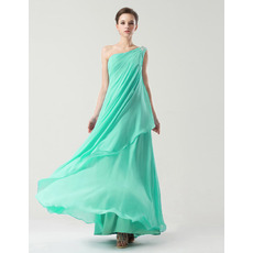 Custom One Shoulder Floor Length Chiffon Bridesmaid Dresses
