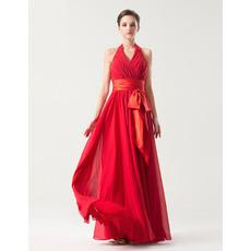 Sexy Empire Halter Floor Length Chiffon Bridesmaid Dresses