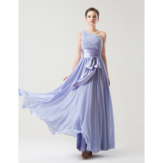 Inexpensive One Shoulder Ankle Length Chiffon Bridesmaid Dresses