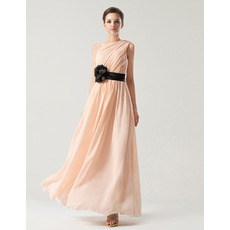 Custom One Shoulder Ankle Length Chiffon Bridesmaid Dresses