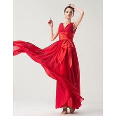 Sexy Empire V-Neck Floor Length Chiffon Bridesmaid Dresses