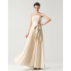 Discount Empire Strapless Floor Length Chiffon Bridesmaid Dresses