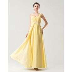 Custom Empire One Shoulder Long Chiffon Bridesmaid Dresses