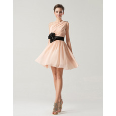 Spring/ Summer A-Line One Shoulder Short Chiffon Bridesmaid Dresses