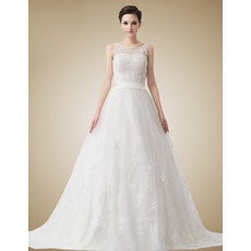 Affordable Vintage A-Line Court Train Organza Wedding Dresses