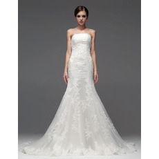 Stylish Mermaid/ Trumpet Strapless Chapel Train Wedding Dresses for Brides